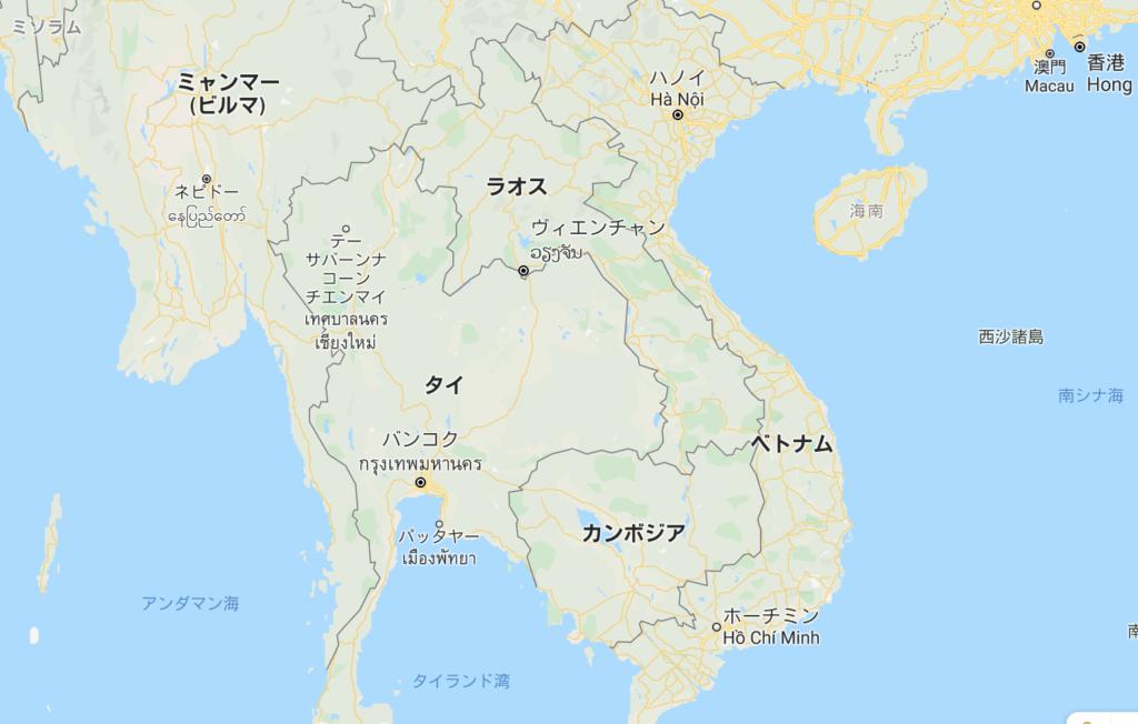 アセアン地域の地図。タイで東京から福岡くらいの距離を移動すれば複数の国へ行く事ができる。